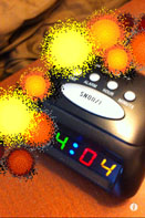 Screenshot: AR mode blowing up alarm clock.